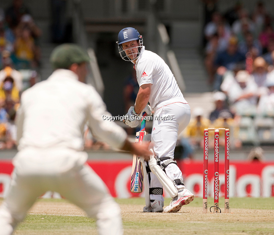 Andrew Strauss looks back as he's caught off Ryan Harris during the third Ashes test match between Australia and England at the WACA (West Australian Cricket Association) ground in Perth, Australia. Photo: Graham Morris (Tel: +44(0)20 8969 4192 Email: sales@cricketpix.com) 17/12/10