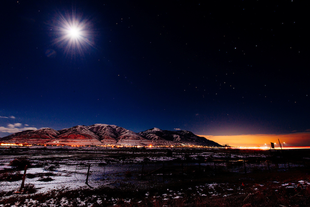 Full moon over the mountains north east of Salt Lake City Utah.