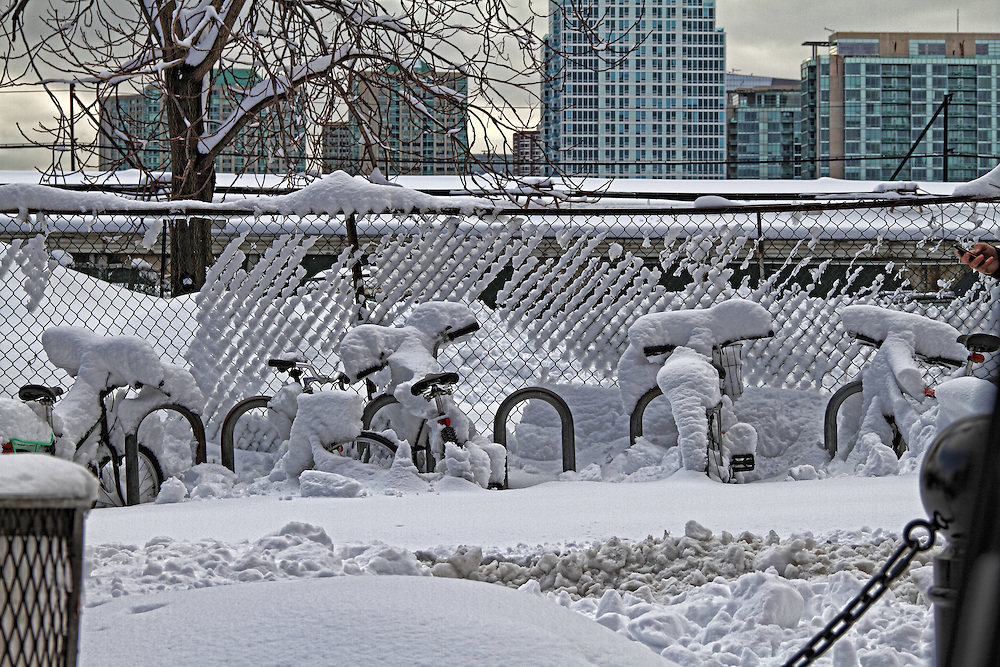 Bicycles at the Hoboken Train Station after the storm.