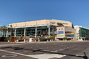 General overall view of the Talking Stick Resort Arena, Friday, Aug. 16, 2019, in Phoenix. The arena opened on June 6, 1992, at a construction cost of $89 million. It was known as America West Arena from 1992 to 2006 and as US Airways Center from 2006 to 2015. The venue is home to the Phoenix Suns of the National Basketball Association (NBA), the Phoenix Mercury of the Women's National Basketball Association (WNBA) and the Arizona Rattlers of the Indoor Football League (IFL). The National Hockey League (NHL)'s Arizona Coyotes played their first seven and a half seasons at the arena following their arrival in Phoenix in 1996.