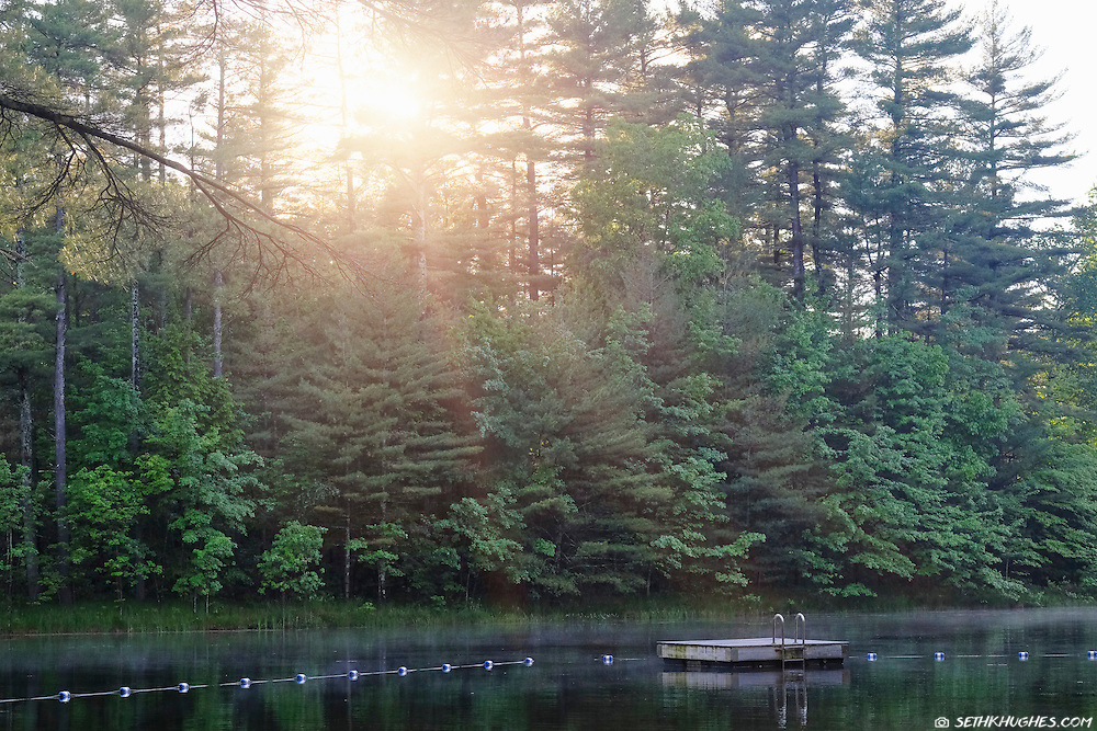 A floating dock sits on the surface of a small, swimming, lake while sun streaks break through the trees.
