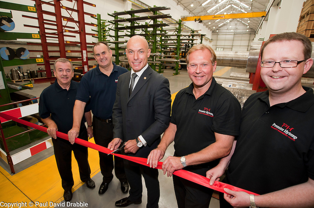 Premier League Referee Howard Webb opens Premier Hytemp Ltd's New Facility on Thorncliffe Industrial Estate sheffield  From Left to Right Bernard Vielle, Keith Grandison, Howard Webb, Donald Wilson and Will Gold.22nd September 2011 Image © Paul David Drabble