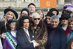 "City Hall, London, March 5th 2017. Stars join March4Women through London. Mayor of London Sadiq Khan and suffragette descendents prepare to march and ""sing for a fairer world ahead of International Women's Day"". Attended by Annie Lennox, Emeli Sande, Helen Pankhurst, Bianca Jagger and with musical performances from Emeli Sande, Melanie C and more. PICTURED: Bianca Jagger, Annie Lennox, and Mayor of London Sadiq Khan are joined by other celebrities and feminist leaders at a photocall."