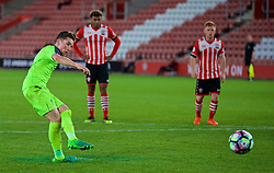 SOUTHAMPTON, ENGLAND - Monday, April 10, 2017: Liverpool's captain Harry Wilson sees his penalty kick saved, but he scored from the re-bound, to level the score at 2-2 and rescue a draw against Southampton during FA Premier League 2 Division 1 Under-23 match at St.Mary's Stadium. (Pic by David Rawcliffe/Propaganda)