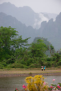 Vang Vieng, Laos. Nam Song River and karst mountains