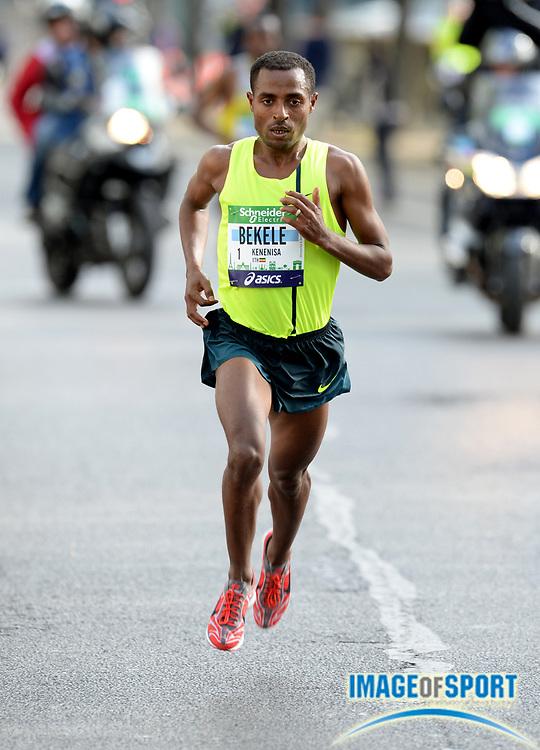Apr 6, 2014; Paris, France; Kenenisa Bekele (ETH) wins the Schneider Electric Marathon de Paris in a course record 2:05.03 in his marathon debut. Photo by Jiro Mochizuki