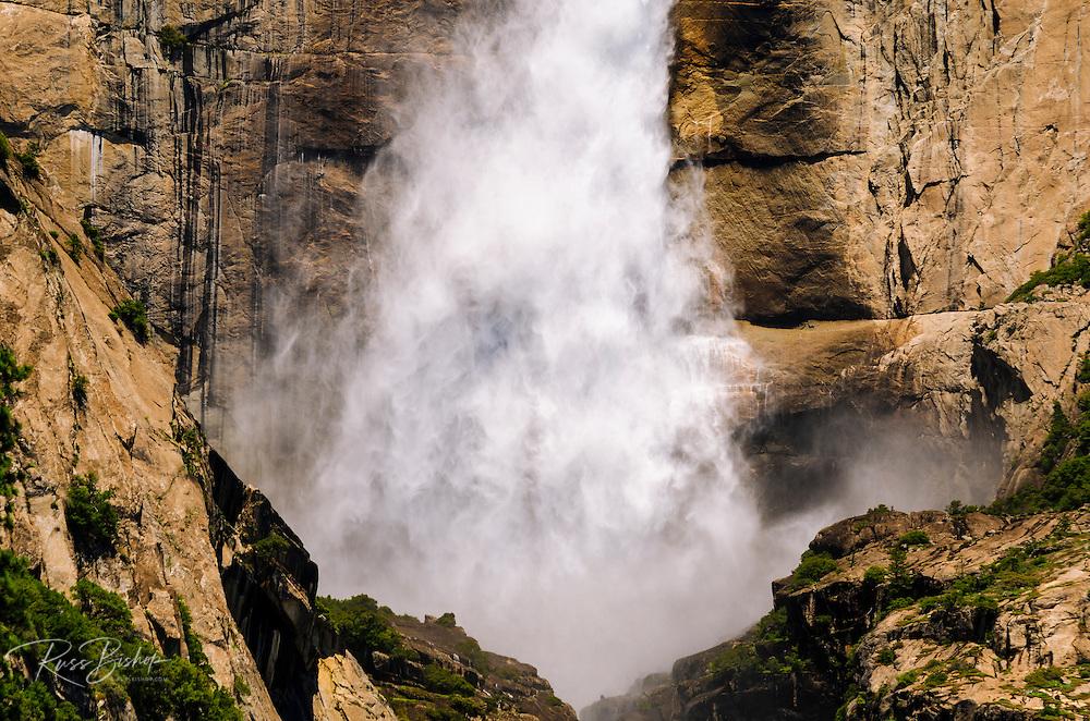 Detail of upper Yosemite Fall, Yosemite National Park, California USA