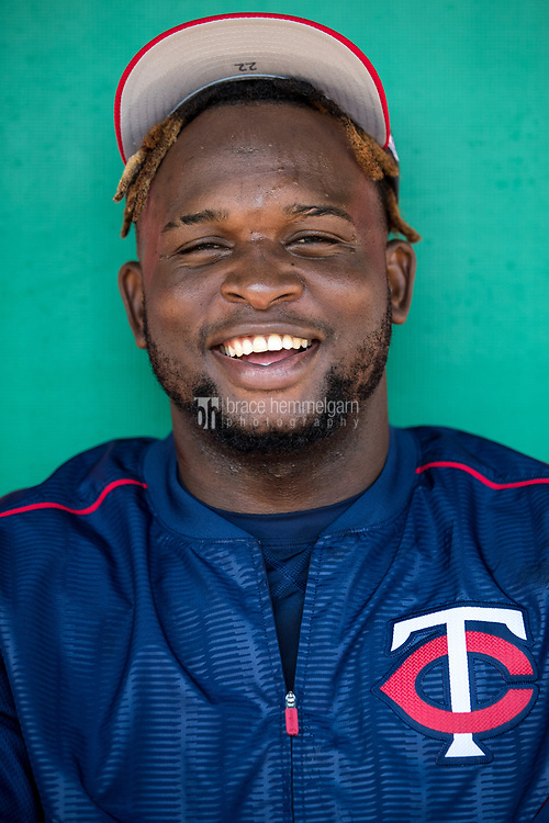FORT MYERS, FL- FEBRUARY 26: Miguel Sano #22 of the Minnesota Twins poses for a photo against the Washington Nationals on February 26, 2017 at Hammond Stadium in Fort Myers, Florida. (Photo by Brace Hemmelgarn) *** Local Caption *** Miguel Sano
