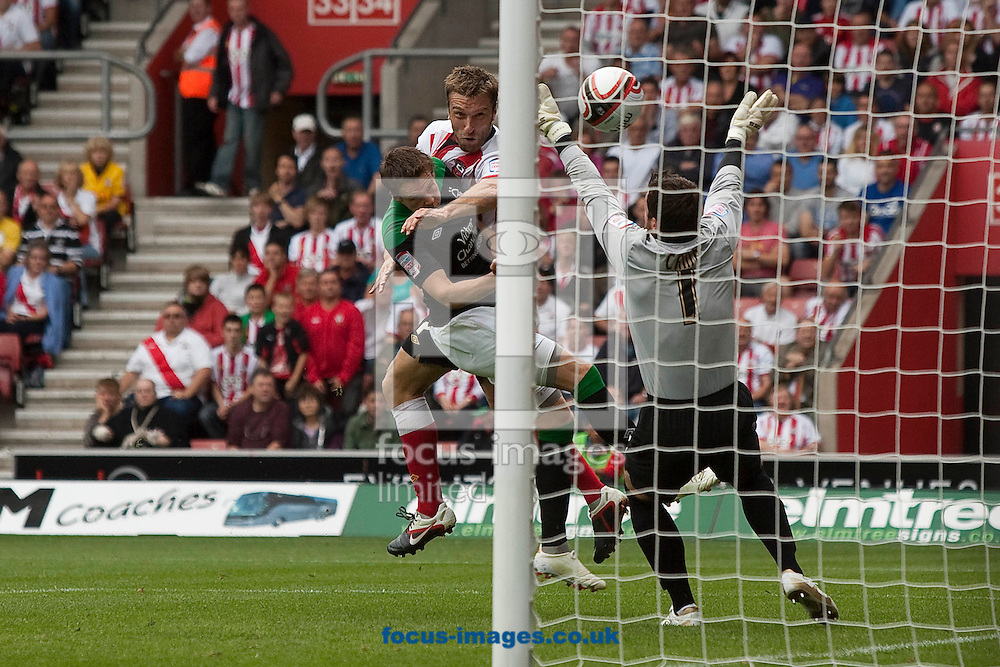 Picture by Daniel Chesterton/Focus Images Ltd. 07966 018899.10/9/11.Rickie Lambert scores Southampton's second goal and celebrates during the Npower Championship match at St Mary's stadium, Southampton.
