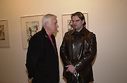 Michael Craig-Martin and Martin Maloney. Francesco Clemente private view. Anthony d'Offay . London. 1 March 2001. © Copyright Photograph by Dafydd Jones 66 Stockwell Park Rd. London SW9 0DA Tel 020 7733 0108 www.dafjones.com