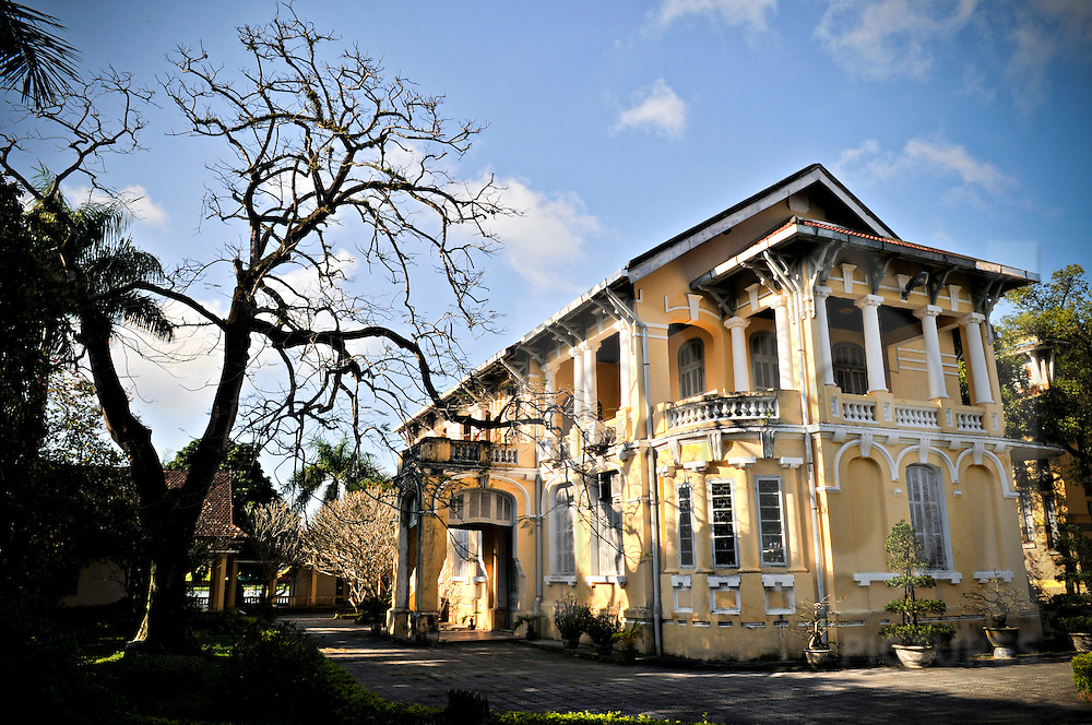 French colonial building in Hue, Vietnam, Southeast Asia.