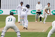 Chris Wright bowling to Tom Lace during the Specsavers County Champ Div 2 match between Leicestershire County Cricket Club and Derbyshire County Cricket Club at the Fischer County Ground, Grace Road, Leicester, United Kingdom on 28 May 2019.