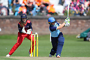 Yorkshire Diamonds Hollie Armitage during the Vitality T20 Blast North Group match between Lancashire Thunder and Yorkshire Vikings at Liverpool Cricket Club, Liverpool, United Kingdom on 13 August 2019.