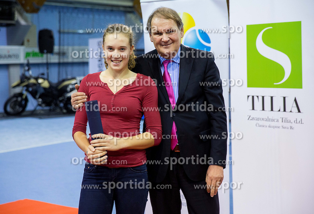 Manca Pislak and Marko Umberger, president of TZS at Tennis exhibition day and Slovenian Tennis personality of the year 2013 annual awards presented by Slovene Tennis Association TZS, on December 21, 2013 in BTC City, TC Millenium, Ljubljana, Slovenia.  Photo by Vid Ponikvar / Sportida