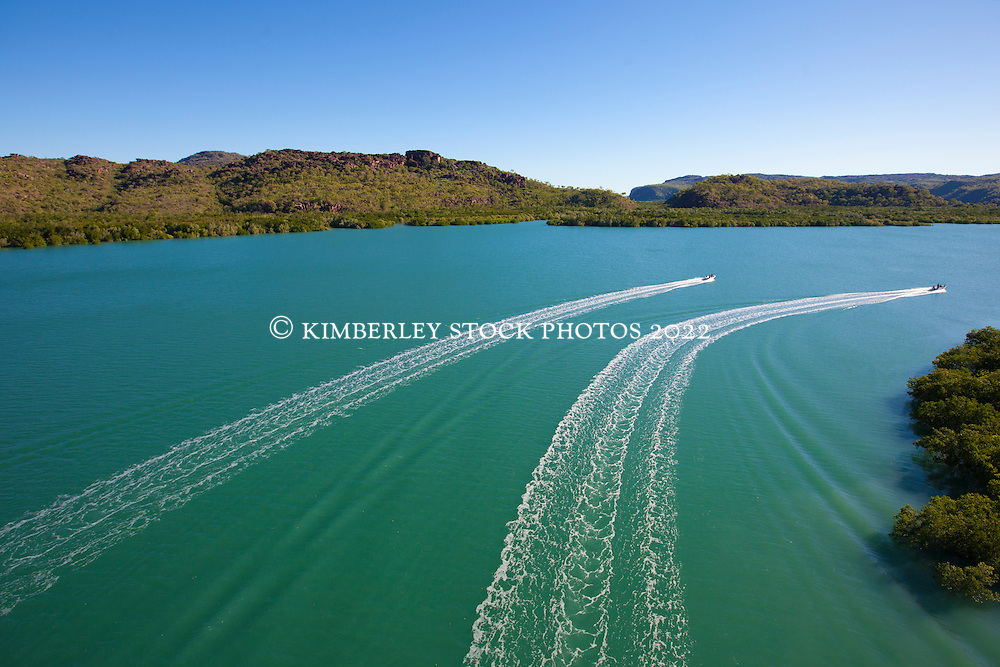 Passengers from one of the Kimberley charter boats on the Hunter River.