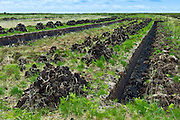 Turf bog shows cutting and stacks of peat (footings) at Mountrivers peat bog, County Clare, West of Ireland