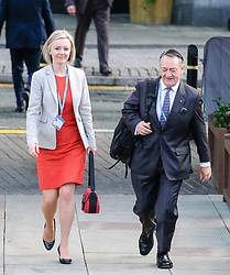 (c) Licensed to London News Pictures. <br /> 03/10/2017<br /> Manchester, UK<br /> <br /> Elizabeth Truss, Secretary of State for Justice leaves the Midland Hotel at the start of day three at the Conservative Party Conference held at the Manchester Central Convention Complex.<br /> <br /> Photo Credit: Ian Forsyth/LNP