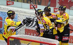 31.01.2012, Albert Schultz Halle, Wien, AUT, EBEL, UPC Vienna Capitals vs HC Orli Znojmo, im Bild Torjubel Andre Lakos, (UPC Vienna Capitals, #64),Jonathan Ferland, (UPC Vienna Capitals, #24), Nathan Robinson, (UPC Vienna Capitals, #9) und Filip Gunnarsson, (UPC Vienna Capitals, #58) // during the icehockey match of EBEL between UPC Vienna Capitals (AUT) and HC Orli Znojmo (CZE) at Albert Schultz Halle, Vienna, Austria on 31/01/2012,  EXPA Pictures © 2012, PhotoCredit: EXPA/ T. Haumer