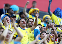 SAINT PETERSBURG, July 3, 2018  Players of Sweden celebrate after the 2018 FIFA World Cup round of 16 match between Switzerland and Sweden in Saint Petersburg, Russia, July 3, 2018. Sweden won 1-0 and advanced to the quarter-final. (Credit Image: © Cao Can/Xinhua via ZUMA Wire)