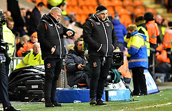 Blackpool Manager Terry McPhillips (left) and Assistant manager Gary Brabin watch the action from the touchline during the Emirates FA Cup, third round match at Bloomfield Road, Blackpool.