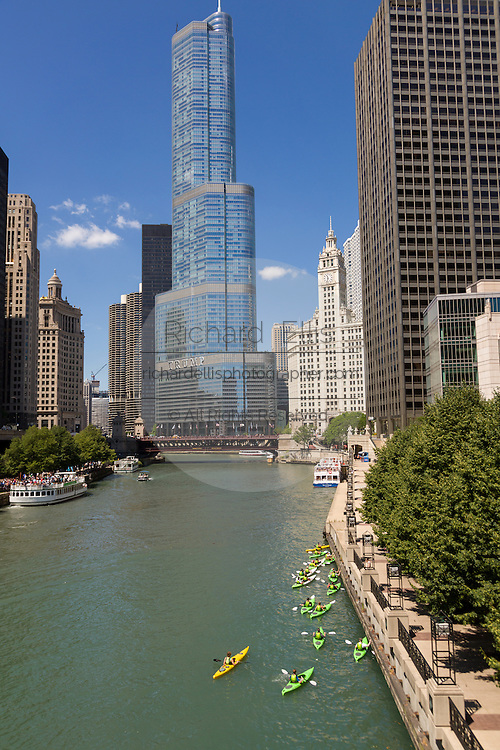 Kayakers on the Chicago River with the Trump Tower on a summers day in Chicago, Illinois, USA