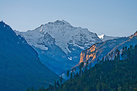 Snow-capped Jungfrau in early morning light, Interlaken, Berner Oberland, Switzerland.