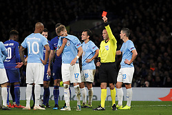 February 21, 2019 - London, Greater London, United Kingdom - Referee Orel Grinfeld sends off Rasmus Bengtsson.during UEFA Europa League Round of 32 2nd Leg between Chelsea and Malmo FF at Stamford Bridge stadium, London, England on 21 Feb 2019. (Credit Image: © Action Foto Sport/NurPhoto via ZUMA Press)