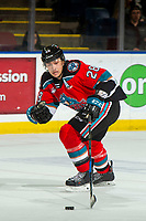 KELOWNA, BC - NOVEMBER 8: Leif Mattson #28 of the Kelowna Rockets skates with the puck against the Medicine Hat Tigers at Prospera Place on November 8, 2019 in Kelowna, Canada. (Photo by Marissa Baecker/Shoot the Breeze)