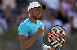 Great Britain's Jay Clarke reacts during day one of the Fever-Tree Championship at the Queens Club, London.