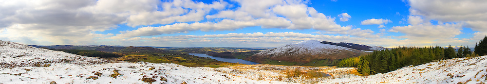 View from Ballintemple viewpoint on the Southern Slope of Slieve Gullion looking out over County Armagh with Camlough lake and Camlough Mountain in the foreground, with the Mourne Mountains in the far background off to the right.<br />