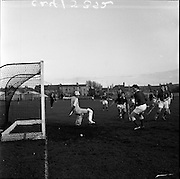 20/01/1962.01/20/1962.20 January 1962.Leinster v Munster Interprovincial Mens Hockey, played at Londonbridge Road, Dublin..N. Deane (Munster) right, and goalie N.(?) Johnston (Munster) feared the worst, but the ball rolled wide.