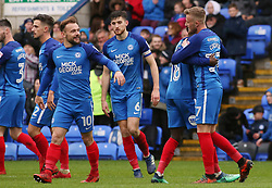 George Cooper of Peterborough United (right) celebrates scoring his goal with team-mates - Mandatory by-line: Joe Dent/JMP - 28/04/2018 - FOOTBALL - ABAX Stadium - Peterborough, England - Peterborough United v Fleetwood Town - Sky Bet League One