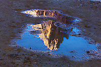 Mountain impression Tre Cime mirrored in pond - Europe, Italy, South Tyrol, Sexten Dolomites, Tre Cime - Forenoon - July 2009 - Mission Dolomites Tre Cime