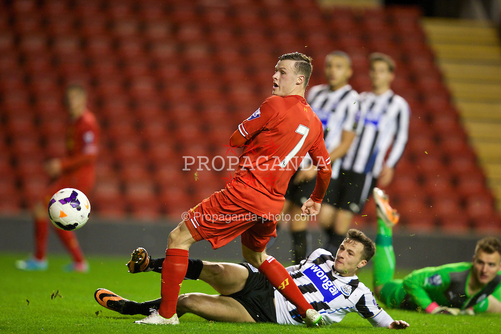 LIVERPOOL, ENGLAND - Friday, March 21, 2014: Liverpool's Brad Smith sees his effort go wide of the Newcastle United post during the Under 21 FA Premier League match at Anfield. (Pic by David Rawcliffe/Propaganda)