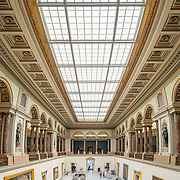 High resolution panorama of the main hall of the Royal Museums of Fine Arts in Belgium (in French, Musées royaux des Beaux-Arts de Belgique), one of the most famous museums in Belgium. The complex consists of several museums, including Ancient Art Museum (XV - XVII century), the Modern Art Museum (XIX  XX century), the Wiertz Museum, the Meunier Museum and the Museé Magritte Museum.