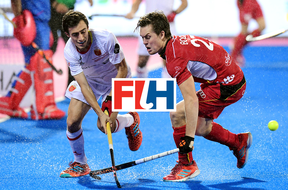 Odisha Men's Hockey World League Final Bhubaneswar 2017<br /> Match id:18<br /> Belgium v Spain<br /> Foto: Marc Serrahima (Esp) in dual with Tom Boon (Bel) <br /> COPYRIGHT WORLDSPORTPICS FRANK UIJLENBROEK