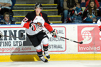 KELOWNA, CANADA, OCTOBER 26: Alex Forsberg #27 of the Prince George Cougars skates on Kelowna Rockets ice as the Prince George Cougars visit the Kelowna Rockets  on October 26, 2011 at Prospera Place in Kelowna, British Columbia, Canada (Photo by Marissa Baecker/Shoot the Breeze) *** Local Caption *** Alex Forsberg;