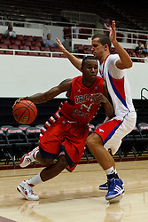 Nov 15, 2011; Stanford CA, USA;  Fresno State Bulldogs forward Kevin Foster (24) dribbles past Southern Methodist Mustangs forward Ricmonds Vilde (5) during the first half of a preseason NIT game at Maples Pavilion.  Fresno State defeated Southern Methodist 54-52. Mandatory Credit: Jason O. Watson-US PRESSWIRE