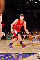 25 February 2011: Forward Blake Griffin of the Los Angeles Clippers looks to pass while dribbling against the Los Angeles Lakers during the first half of the Lakers 108-95 victory over the Clippers at the STAPLES Center in Los Angeles, CA.