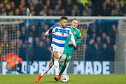 Queens Park Rangers midfielder Jordan Cousins (8) pursued by Watford midfielder Will Hughes (19) during The FA Cup 5th round match between Queens Park Rangers and Watford at the Loftus Road Stadium, London, England on 15 February 2019.