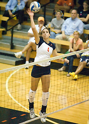 Virginia Cavaliers OH Lauren Dickson (4)..The Virginia Cavaliers Volleyball team faced the Florida State Seminoles at Memorial Gymnasium in Charlottesville, VA on September 20, 2007.