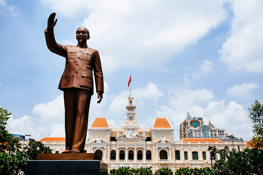 A statue of Ho Chi Minh in downtown Saigon, Vietnam.