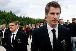 Darijan Matic and Valter Birsa at official presentation of Slovenian National Football team for World Cup 2010 South Africa, on May 21, 2010 in Congress Center Brdo at Kranj, Slovenia. (Photo by Vid Ponikvar / Sportida)