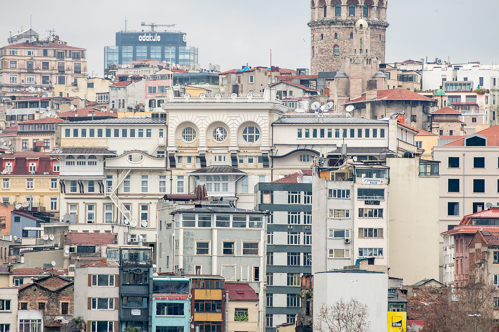 Buildings are tightly stacked next to each other making for close living quarters in Istanbul, Turkey