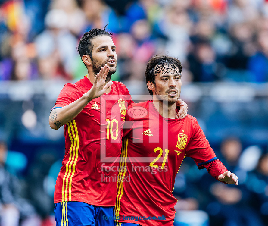 Cesc Fabregas (left) and David Silva of Spain during the International Friendly match at Red Bull Arena, Salzburg<br /> Picture by EXPA Pictures/Focus Images Ltd 07814482222<br /> 01/06/2016<br /> ***UK &amp; IRELAND ONLY***<br /> (filename}