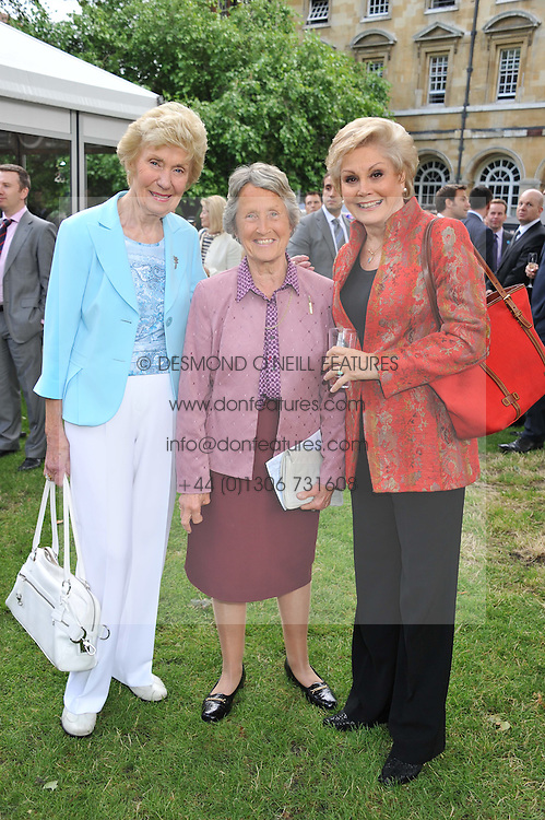 Left to right, JOAN MORECAMBE, BARONESS HEYHOE FLINT and ANGELA RIPPON at The Lady Taverners 25th Anniversary Westminster Abbey Garden Party held in The College Gardens, Westminster Abbey, London o 11th July 2012.