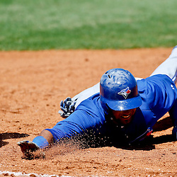 Mar 13, 2013; Bradenton, FL, USA; Toronto Blue Jays second baseman Emilio Bonifacio (1) dives back to first base on an attempted pick off during the top of the third inning of a spring training game against the Pittsburgh Pirates at McKechnie Field. Mandatory Credit: Derick E. Hingle-USA TODAY Sports