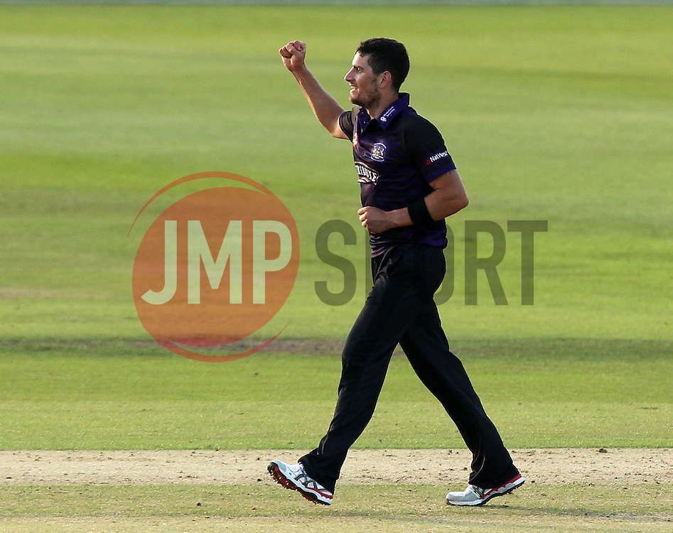 Gloucestershire's Benny Howell celebrates taking the wicket Sussex's Will Beer - Photo mandatory by-line: Robbie Stephenson/JMP - Mobile: 07966 386802 - 26/06/2015 - SPORT - Cricket - Bristol - The County Ground - Gloucestershire v Sussex - Natwest T20 Blast