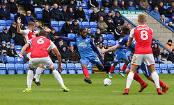 Anthony Grant of Peterborough United has a shot at goal which strikes the crossbar - Mandatory by-line: Joe Dent/JMP - 28/04/2018 - FOOTBALL - ABAX Stadium - Peterborough, England - Peterborough United v Fleetwood Town - Sky Bet League One