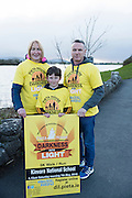 Pieta House, Centre for the Prevention of Self-harm or Suicide will be holding its eighth Darkness into Light charity 5k walk/run this year and for the second time KINVARA is hosting the event.&nbsp; We will be hosting Darkness Into Light on 7th May 2016 while it is still dark at 4.15  and finishing as dawn is breaking at 5.30am approximately.<br /> <br /> The 5 kilometre circuit will commence at the Astro pitch at Kinvara National School. Runners and walkers veer left coming out of Kinvara National School and proceed down the main street. From there the runners and walkers will continue along the N67 in the direction of Dunguaire Castle. Runners and walkers will then turn onto R367(Ardrahan Road) on their right and from there proceed approx. 1 KM and turn left onto Green Road.They will then proceed to rejoin theN67 at the Green Road junction on the northeast of Dunguaire Castle. The participants will proceed back towards Kinvara village along the N67 until returning to the original starting point at the Astro pitch at Kinvara National School.<br /> At the Launch were Noleen Heanen, Ethan Sexton and Peter Deego.  Photo:Andrew Downes, xposure.